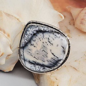 Natural Dolomite Stone Silver Ring